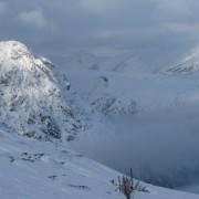 Free heel skiing and Buachaille Etive Mor