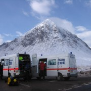 Rescue trucks and Buachaille Etive Mor