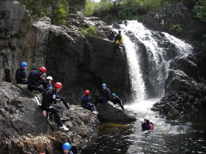 'Slot and Drop' Inchree Falls. with Vertical Descents.