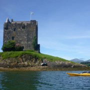 Sea kayaking at Castle Stalker