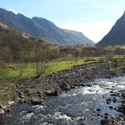 View to the Aonach Eagach from the river coe