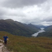 Trail running above Kinlochleven